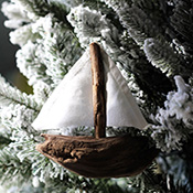 Driftwood Sailboat Christmas Tree Ornaments