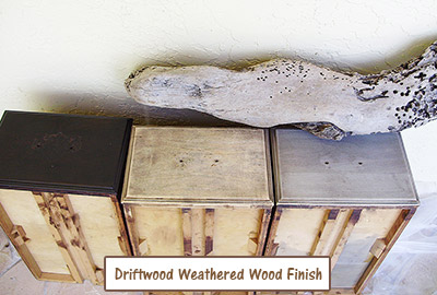 Drawer fronts - L to R - Initial dark stain; stripped and sanded; diluted application of Driftwood Weathered Wood Finish. Here I used 2 Cups of water to 1 Packet of Driftwood Weathered Wood Finish instead of the normal 1 C of water. It