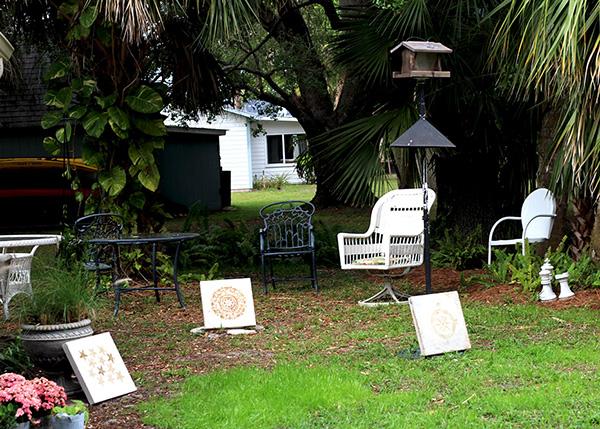 stenciled patio pavers