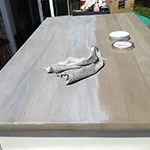 Tom C used Driftwood Weathering Wood Finish & Liming Wax on a tabletop.