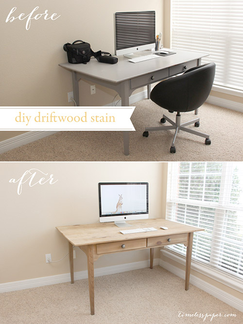 Refinished Desk with Driftwood Weathered Wood Stain