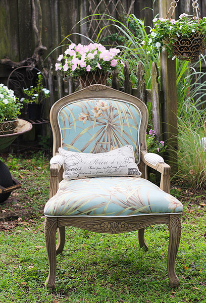 Refinished Bergere chair using Driftwood Weathering Wood Finish Before and After